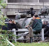 ESZTERGOM, HUNGARY - NOVEMBER 10: Angelina Jolie and Brad Pitt on the set of her directorial debut