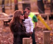 BUDAPEST - NOV 5: Brad Pitt and Angelina Jolie and their children Zahara, Pax, and Shiloh enjoy an early evening visit to a children's park in Budapest, Hungary, on Friday, November 5, 2010.