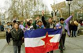 BELGRADE, YUGOSLAVIA - 29 MARCH: Yugoslavian citizens march through the streets of the capital Belgr
