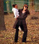 BUDAPEST - NOV 5: Brad Pitt and Angelina Jolie and their children Zahara, Pax, and Shiloh enjoy an e