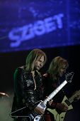 BUDAPEST, HUNGARY - AUG 11: Heavy Metal rock band Judas Priest in concert at the annual Sziget Festival in Budapest, Hungary, on Thursday, August 11, 2011. Seen here is  lead guitarist Glenn Tipton, left with Ian Hill.