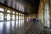 SAINT PETERSBURG, RUSSIA - JUNE 15: The gilded halls  of Catherine Palace in Tsarskoye Selo (Tsar's