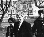 PALE, BOSNIA - MAR 14: Bosnian Serb leader Radovan Karadzic, his wife Ljiljana Zelen and bodyguard a