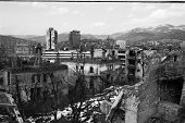SARAJEVO, BOSNIA - MAR 15: A panorama of Sarajevo, Bosnia, on Friday, March 15, 1996. The city has endured nearly four years of civil war and siege.