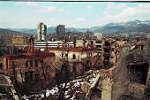 SARAJEVO, BOSNIA - MAR 15: A panorama of Sarajevo, Bosnia, on Friday, March 15, 1996. The city has e