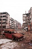 SARAJEVO, BOSNIA - DECEMBER 1: The city of Sarajevo stands in ruin after three years of siege and ci