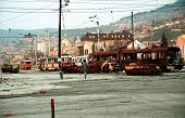 SARAJEVO, BOSNIA - APRIL 4: A man braves sniper fire to cross a no-mans land in the besieged Bosnian