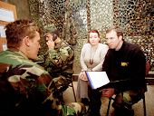 HADZICI, BOSNIA - DECEMBER 12: Former United States military officers train Bosnian and Croatian army soldiers at a joint training and operations center in Bosnia on Dec 12, 1997 in Sarajevo, Bosnia..
