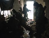 TUZLA, BOSNIA - JAN 26: United States Army troops, in Bosnia as part of NATO's IFOR,  protect a front-line headquarters position on January 26, 1995 near Tuzla, Bosnia,.