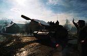 MODRICA, BOSNIA - JAN 8: A Bosnian Serb T-54 tank passes through Modrica, Bosnia, on Friday, January