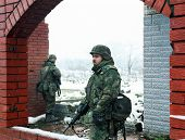 TUZLO, BOSNIA - JAN 26: United States Army troops, in Bosnia as part of NATO's IFOR,  protect a fron