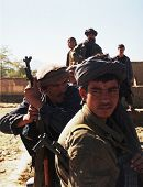 KABUL - OCT 21: Northern Alliance fighters prepare for battle with Taliban forces north of Kabul, Af