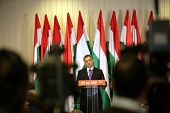 BUDAPEST, HUNGARY - APR 12: Hungarian prime minister Viktor Orban holds a press conference in Budapest, Hungary, on Monday, April 12, 2010 in Budapest, Hungary. Orban's FIDESZ Party swept into power on a landslide 2/3 majority victory.