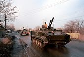 MOZDOK, RUSSIA - JANUARY 12: A column of Russian army armor makes its way south from a Russian army