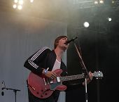 BUDAPEST - AUG 8: The band Mando Diao perform at the annual Sziget Festival in Budapest, Hungary, on Wednesday,  August 8, 2007.