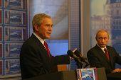BRATISLAVA, SLOVAKIA - FEBRUARY 24: United States President George W. Bush and Russian president Vla