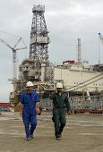 SANGACHAL, AZERBAIJAN  - OCT 29: Roughnecks and engineers build oil platforms in Sangachal, Azerbaij