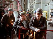 KATOWICE - MAY 16:  Coal miners from the Katowice  II (KWK) coal mine await the elevator that will t