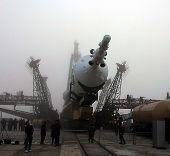BAIKONUR COSMODROME - OCTOBER 29:  The Soyuz TM-31 rocket at the launchpad at the Russian Cosmodrome