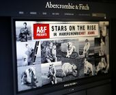 NEW YORK CITY - AUG 30, 2013: The website of American clothing retailer Abercrombie & Fitch. A&F is