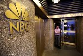 NEW YORK CITY - OCT 18: A man walks out of NBC television studios in Manhattan on Friday, October 18, 2013.