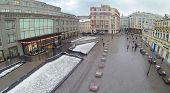 MOSCOW, RUSSIA - DEC 1, 2013: (aerial view) Central Department Store at winter day on Neglinnaya street was built in 1906-1908.