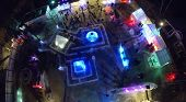 MOSCOW, RUSSIA - JAN 1, 2014: (aerial view) Illuminated Ice town in Sokolniki Park at night.