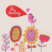 Cute cartoon bird on flowers. Bright floral background in vector. Childish vintage elements