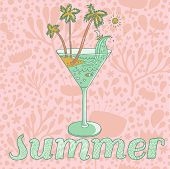 Warm summer concept card in pastel colors. Vector cocktail with sand, palm and sea on floral background