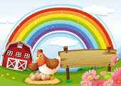 Illustration of a farm with a rainbow and an empty signboard