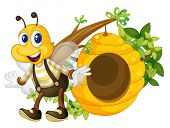 Illustration of a smiling yellow bee near the beehive on a white background