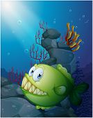 Illustration of a big piranha under the sea near the rocks on a white background