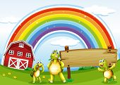 Illustration of the three turtles near the wooden signboard and the rainbow