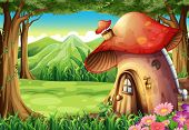 Illustration of a forest with a mushroom house