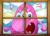 Illustration of an angry pink monster outside the window