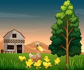 Illustration of a duck and her ducklings across the barnhouse at the farm