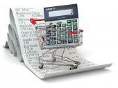 Shopping cart with calculator on reciept. 3d