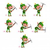 Animation of Dwarf digging. Seven frames, in loop. Vector cartoon isolated character/frames.