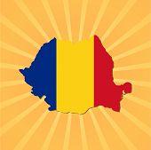 Romania map flag on sunburst illustration