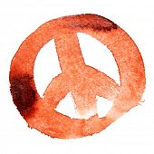 Red peace sign isolated over the white background