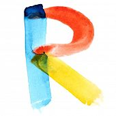 Letter R - colorful watercolor alphabet