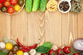 stock photo of cucumbers  - Fresh ingredients for cooking - JPG