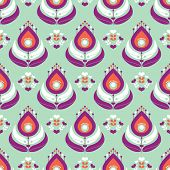 Seamless mint and coral colored peacock feather design illustration background pattern in vector