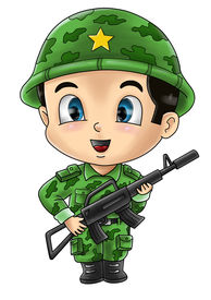 stock photo of chibi  - Cute cartoon illustration of a soldier isolated on white - JPG