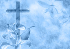 image of crucifixion  - Christian cross and lily flower on blue background - JPG