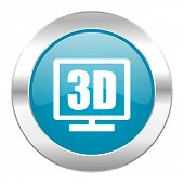 3d display internet blue icon
