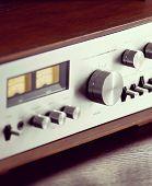 Vintage Stereo Audio Amplifier Volume Knob Closeup