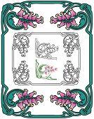 Art Nouveau floral border