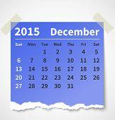 Calendar december 2015 colorful torn paper