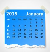 Calendar january 2015 colorful torn paper